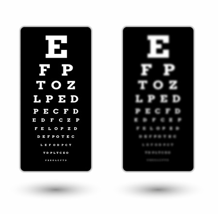 snellen: sharp and unsharp black snellen chart with white text and shadow on white background