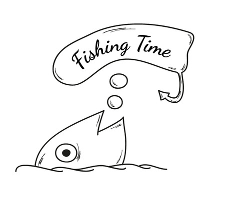 days gone by: vector, sketch, fish and speak bubble with fishing time Illustration