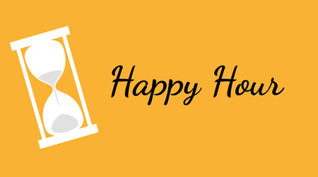 vector of the happy hour background with clock Vector