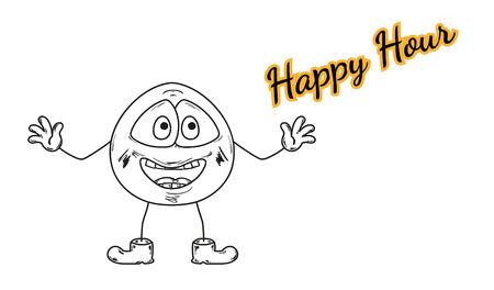 vector, emoticon and color happy hour text