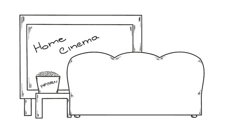 dvd room: vector, sketch of the home cinema and popcorn on the table