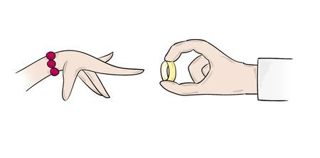 proposal of marriage: illustrazione vettoriale, due mani, proposta di matrimonio con anello Vettoriali