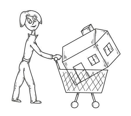 vector, sketch, woman with shopping cart and house Vector