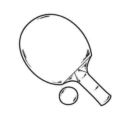 ping pong racket and ball, sketch Vector
