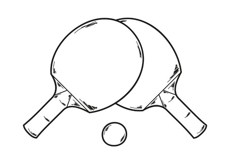 two ping pong rackets and ball, sketch Vector