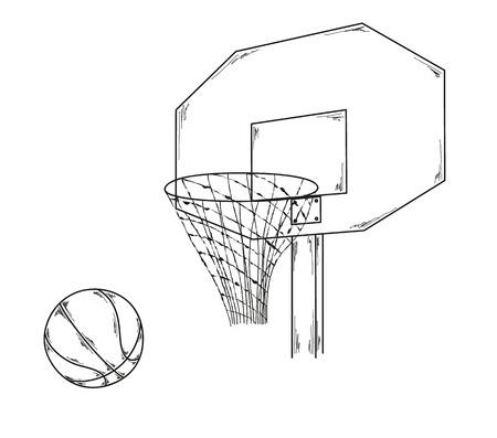 basketball, ball, net, sketch