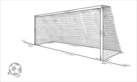 football ball and goal, sketch