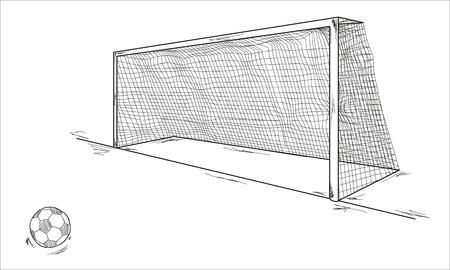 voetbal bal en het doel, schets