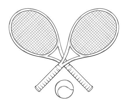 tenis twee rackets en bal, schets