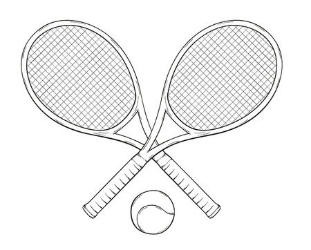 two tenis rackets and ball, sketch Vector
