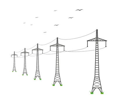 high voltage power lines and birds on white background Vector