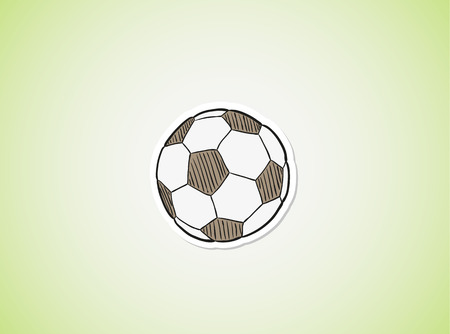 sketch of the football ball on green gradient background Vector