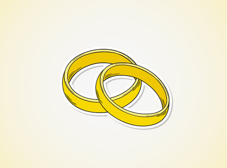 sketch of the two rings as a symbol of love
