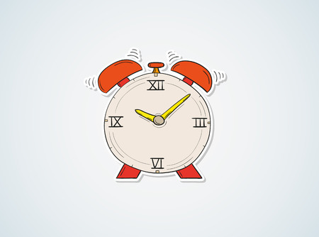 sketch of the alarm clock on blue background Vector