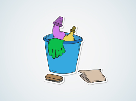 sketch of the cleaners, gloves, cloth on blue background Illustration