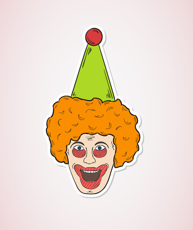 purim carnival party: sketch of the clown head on red background