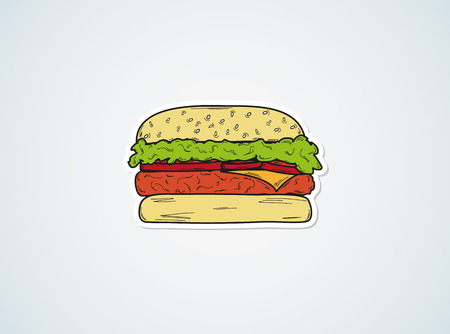 color sketch of the hamburger on blue background Vector
