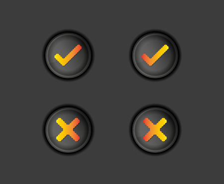accepted: buttons with accepted and rejected text, vector