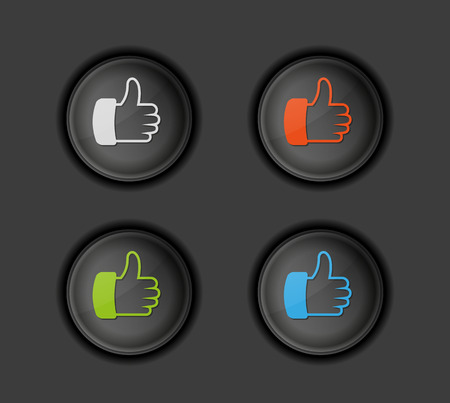 dark buttons with color thumb symbol, vector Vector