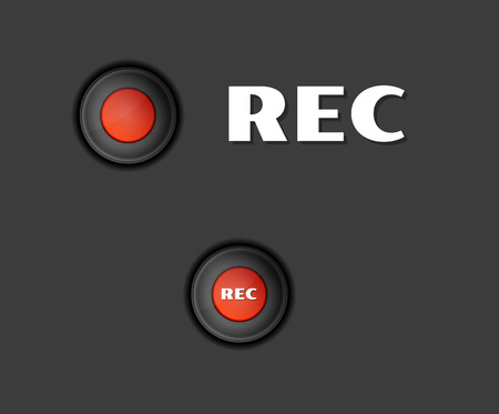 two red rec buttons on dark background Vector