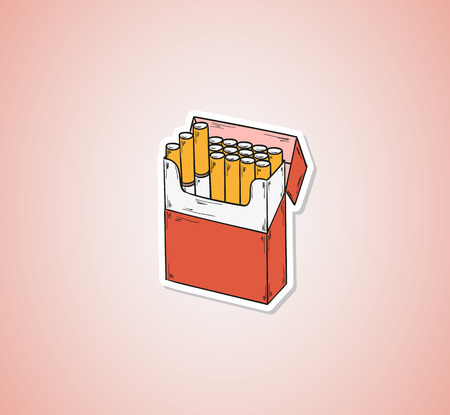 baccy: sketch of the cigarettes pack on red background