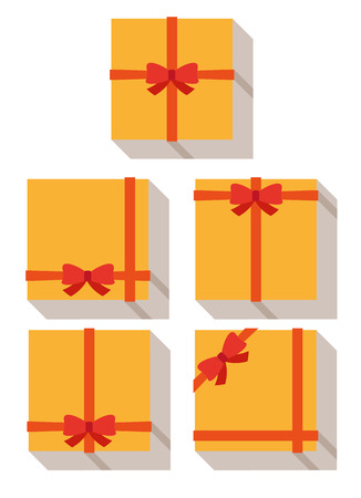 gift packs: flat style, wrapped gift or gift card with red ribbon on white background