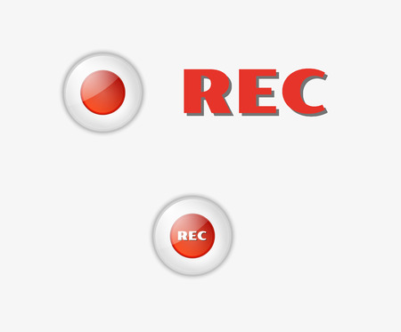 rec: two red rec buttons on white background Illustration