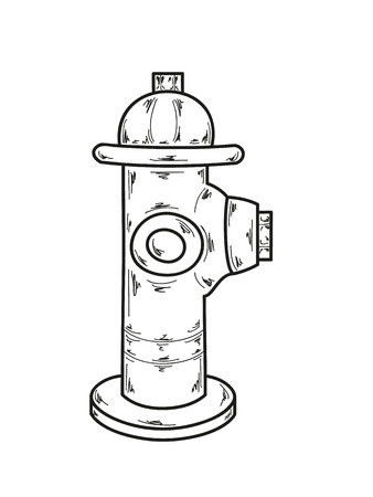 fire plug: sketch of the fire hydrant on white background, vector Illustration