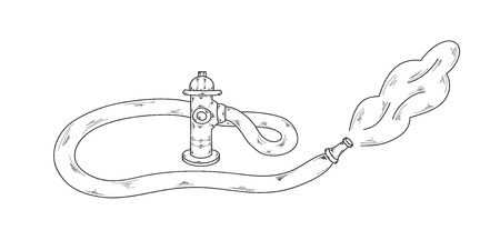 sketch of the fire hydrant on white background, vector Illustration