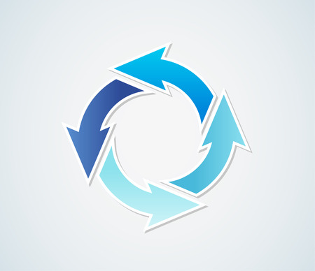 gradient circle arrows of different colors with different blue colors 向量圖像