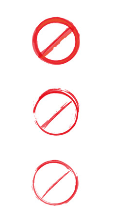 three different crossed circle red danger signs, vector Stock Vector - 30150245