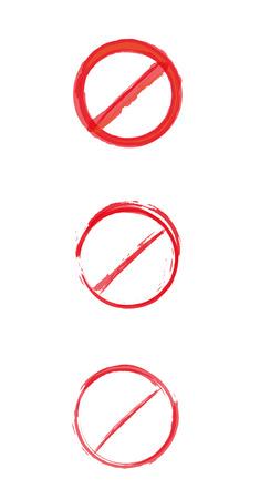 panneaux danger: trois signes de danger cercle barr� rouge diff�rents, vecteur Illustration