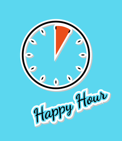 vector of the blue happy hour background with clock Vector