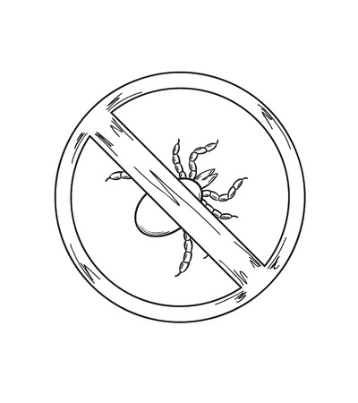 borreliosis: sketch of the warning sign of the tick on white background, isolated