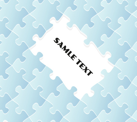 missing link: blue puzzle field with white place for your text, vector Illustration