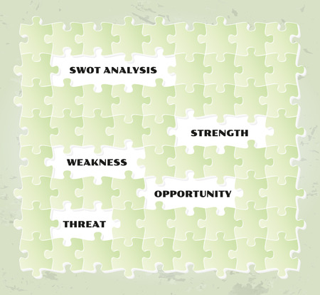 swot analysis with green puzzle pieces, vector Vector