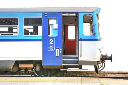 highspeed: blue train with open door, isolated, photo Stock Photo