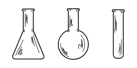 sketch of the three empty flasks Illustration