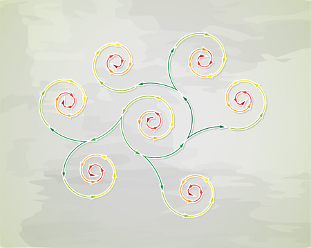 connected spiral arrows with different colors