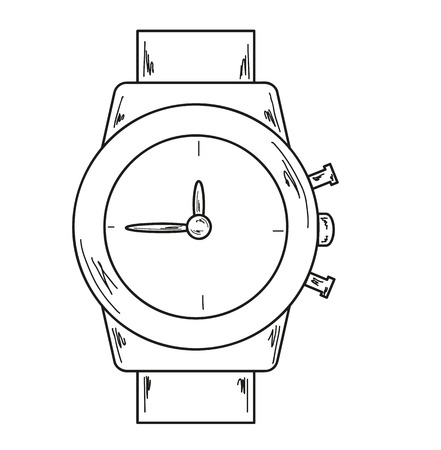 chronograph: sketch of the wath on white background Illustration