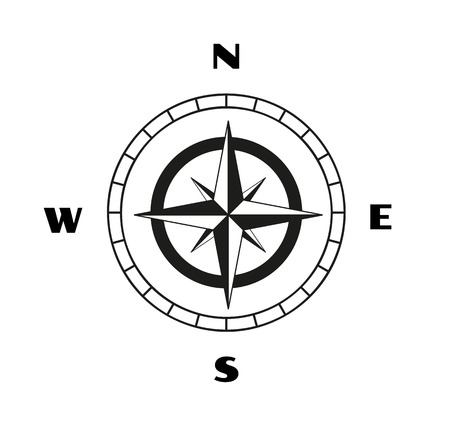 compass rose: sketch of the compass on white background Illustration