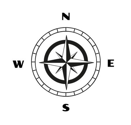 kompas: skica kompasu na bílém pozadí Ilustrace