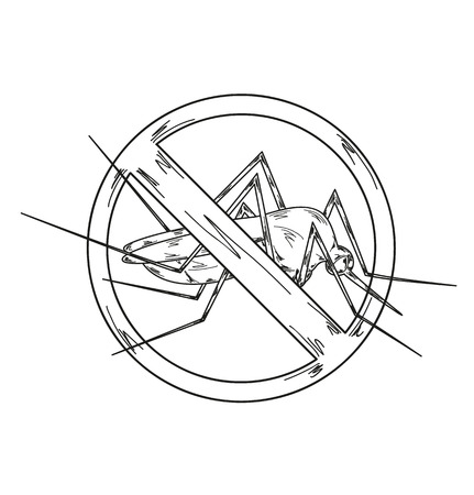 no mosquito: circle sign with stop mosquito Illustration