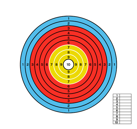 target with different color circles and values and score Ilustração
