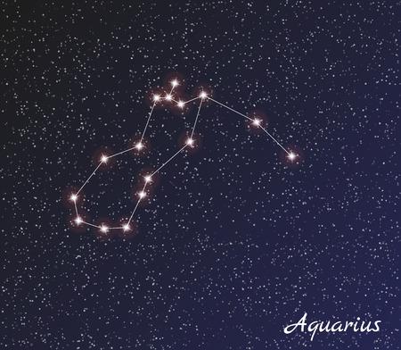 ster sterrenbeeld waterman op donkere hemel Stock Illustratie