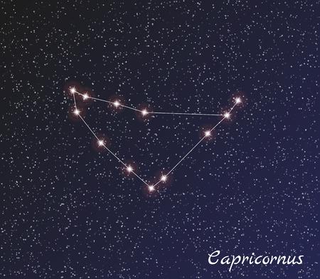 capricornus: star constellation of capricornus on dark sky