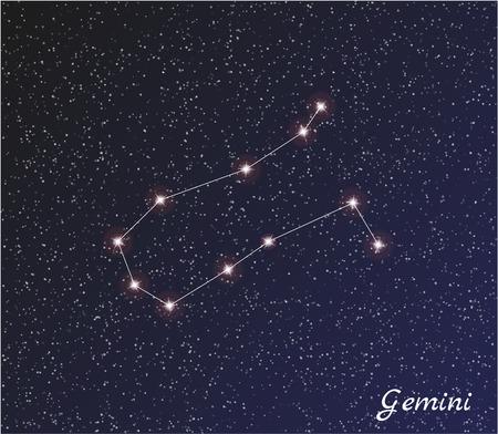 star constellation of gemini on dark sky Vector