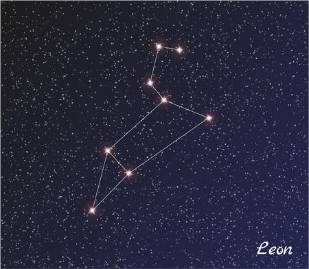 leon: star constellation of leon on dark sky Illustration