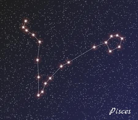 star constellation of pisces on dark sky 版權商用圖片 - 31468956