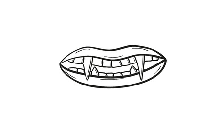sketch of the vampire teeth, vector, isolated